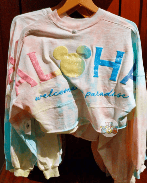 "Aulani - Spirit Jersey Crop Top (Rainbow Cotton Candy ""Aloha Welcome to Paradise"")"