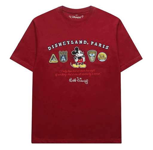 Paris Disneyland - Mickey Mouse Red Logo T-Shirt For Adults