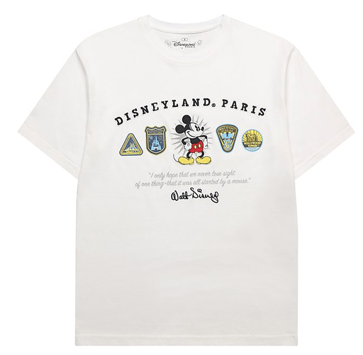 Paris Disneyland - Mickey Mouse White Logo T-Shirt For Adults