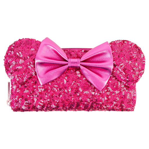 d2de252b2fd Australia Zing Exclusive - Loungefly Long Wallet - Minnie Ears   Bow Sequin  Hot Pink