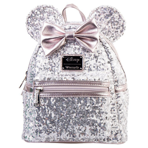 Australia Zing Exclusive - Loungefly Mini Backpack - Minnie Ears & Bow Sequin Silver