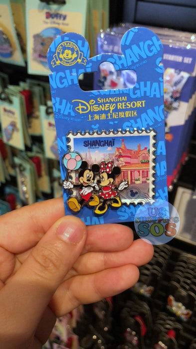 SHDL - I Mickey SH Collection - Pin x Stamp Shape - Mickey & Minnie Mouse