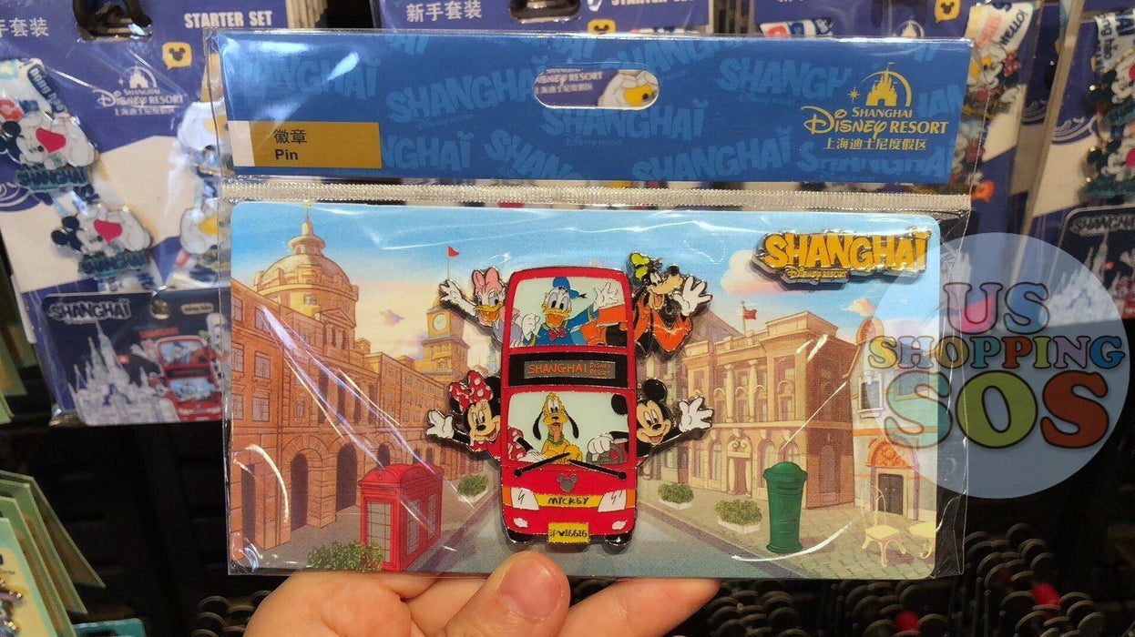 "SHDL - I Mickey SH Collection - Pin x Post Card ""Shanghai Disney Resort Bus"""