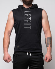 Vertical LFTFIT Sleeveless Hoodie - Black
