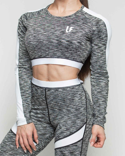 LF Long Sleeve Crop Top - Splinter Black