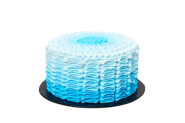 Blue Ocean Ruffled Cake
