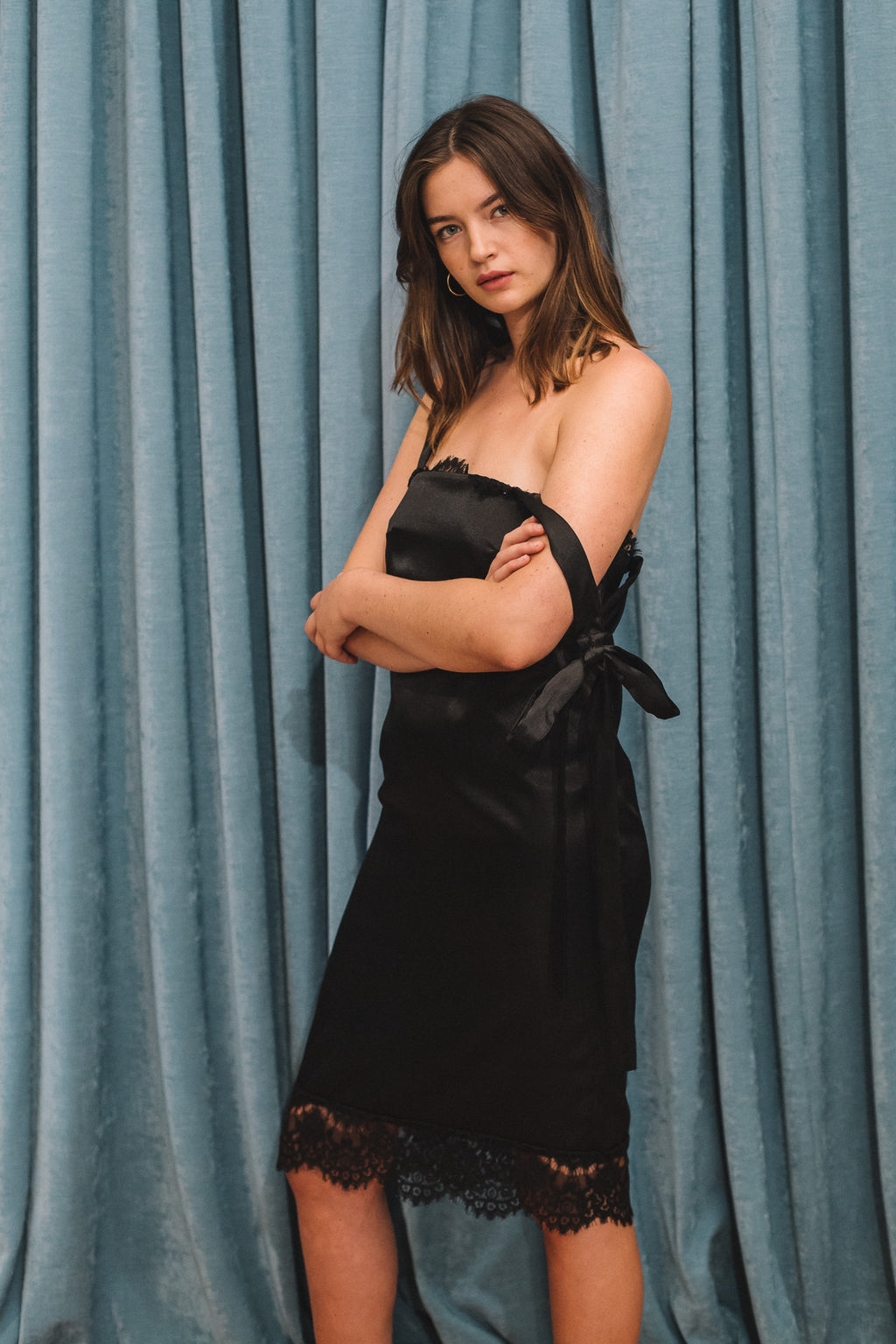 vintage black satin slip dress