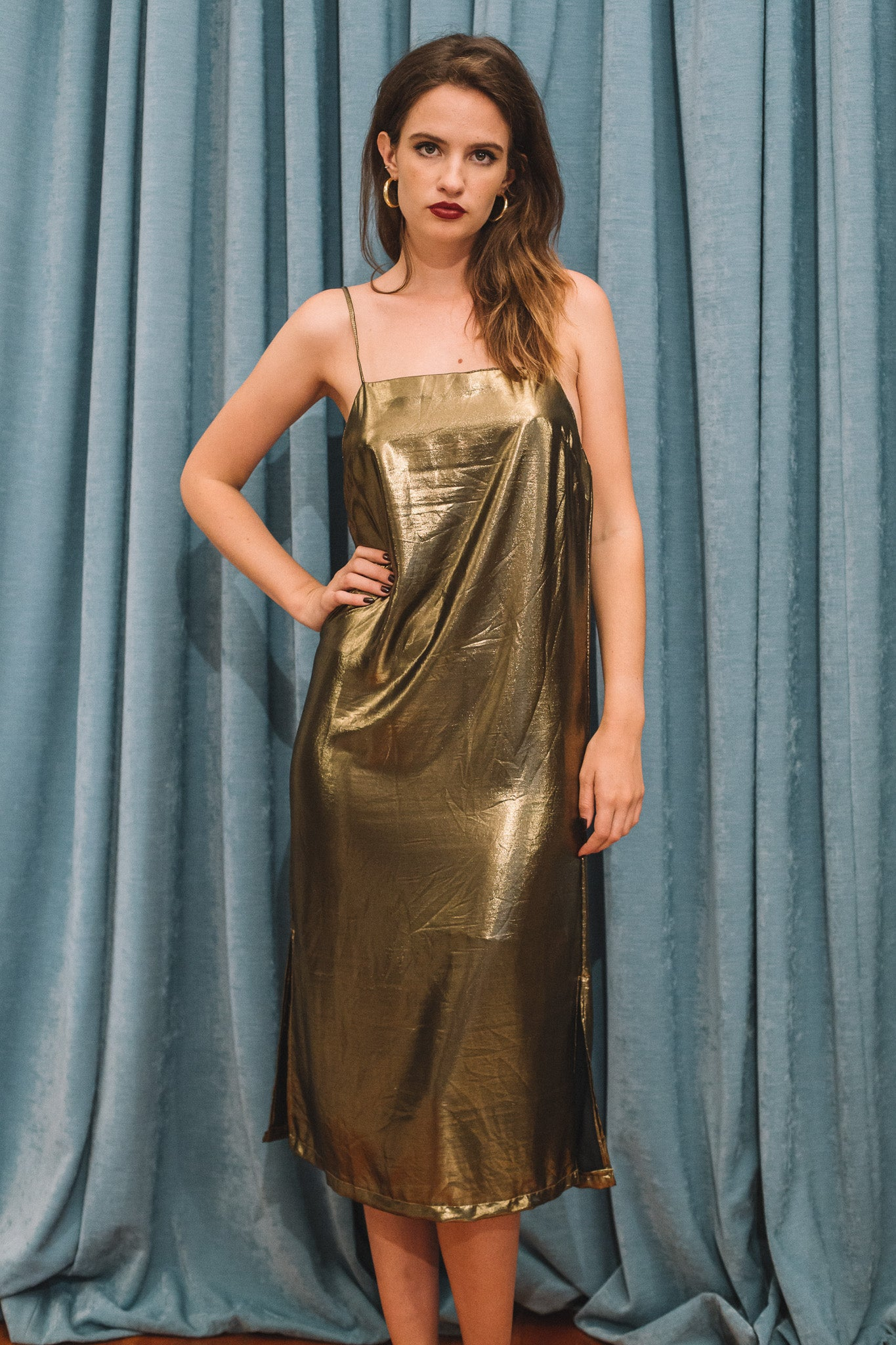 Moss gold slip dress