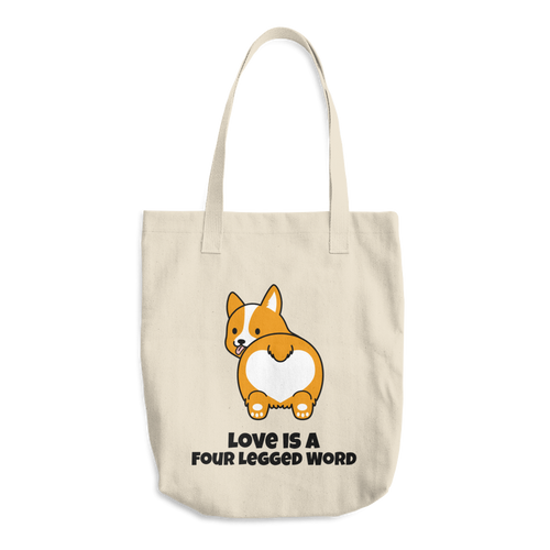 Dog Lover - Love Is A Four Legged Word Cotton Tote Bag