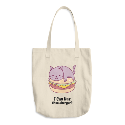 Cat Lover - I Can Haz Cheeseburger? Cotton Tote Bag