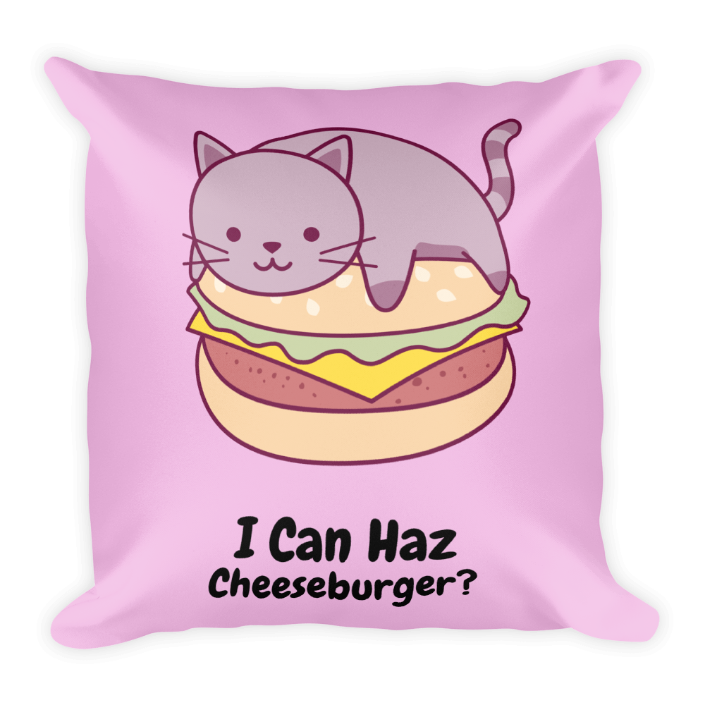 Cat Lover - I Can Haz Cheeseburger? Square Pillow