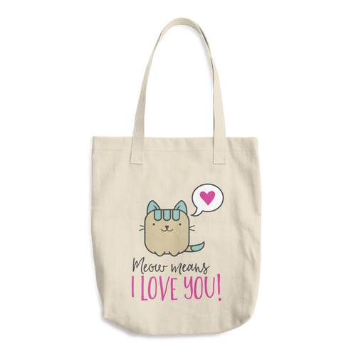 Cat Lover - Meow Means I Love You Cotton Tote Bag