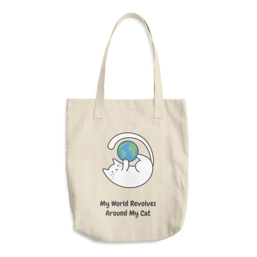 Cat Lover - My World Revolves My Cat Cotton Tote Bag