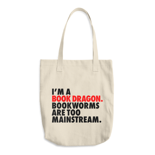 Book Dragon Cotton Tote Bag