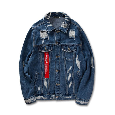Ribbon Ripped Denim Jacket - ShopThreeFifty