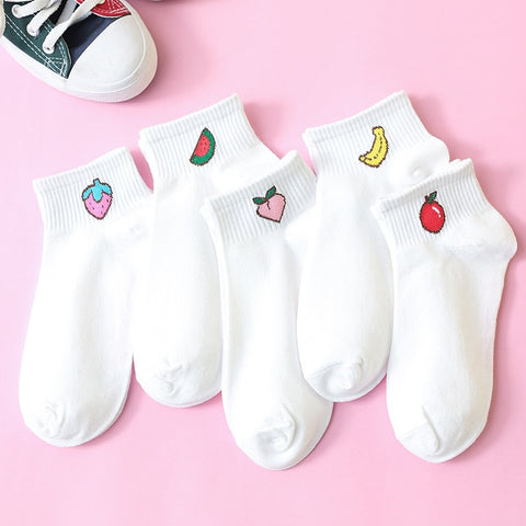 Fruit Emoji White Ankle Socks - ShopThreeFifty