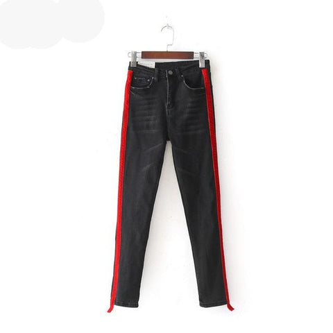Black Skinny Jeans  Red Stripe - ShopThreeFifty
