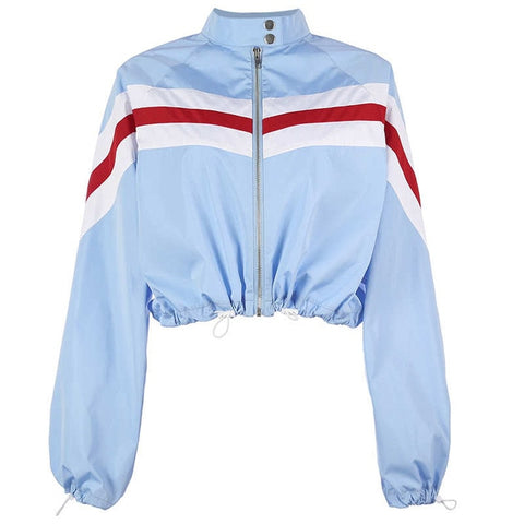 Baby Blue Cropped Stand Collar Jacket - ShopThreeFifty