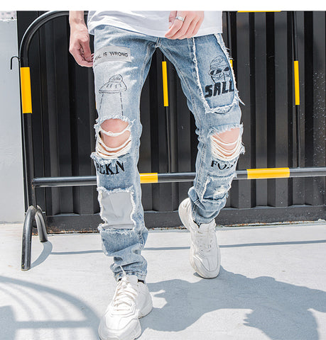 Reflective Men Skinny Ripped Jeans - ShopThreeFifty