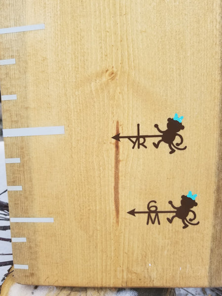Monkey with Bow Growth Chart Arrows - Little Prairie Craft Co.