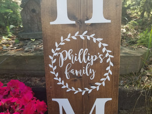 Personalized Family Laurel Porch Sign - Little Prairie Craft Co.