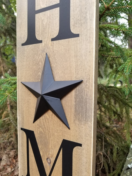 farmhouse decor, rustic metal star home decor wooden sign
