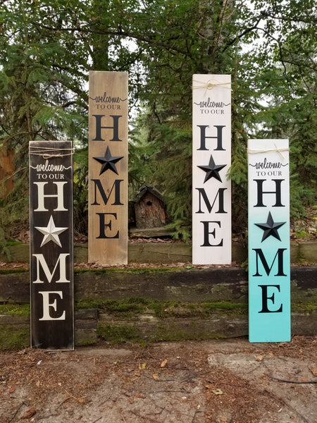 Teal Ombre Metal Star Porch Sign - Little Prairie Craft Co.