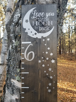 Love You to the Moon and Back Height Ruler - Little Prairie Craft Co.