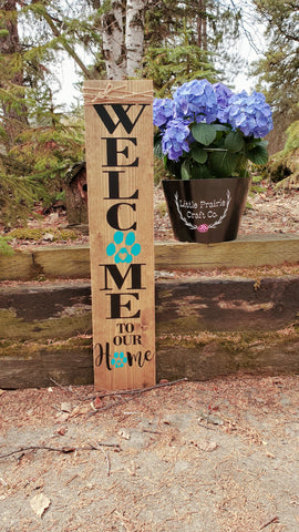 Welcome To Our Home Double Paw Print Porch Sign - Little Prairie Craft Co.