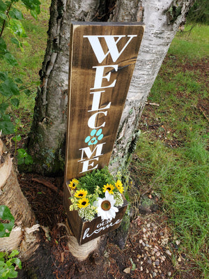 Paw Print Welcome Porch Planter - Little Prairie Craft Co.