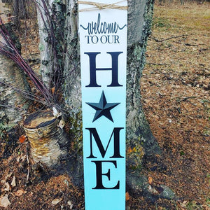 Teal Ombre Metal Star Porch Sign