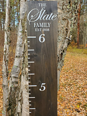 The Family EST Wooden Growth Chart Ruler (Top Layout) - Little Prairie Craft Co.