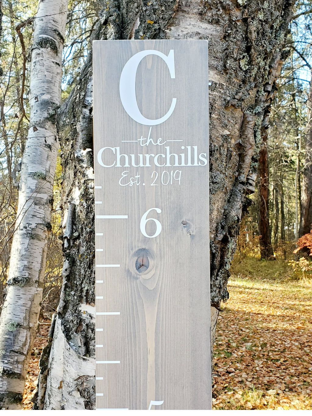 Modern Farmhouse Monogram Wooden Growth Chart - Little Prairie Craft Co.