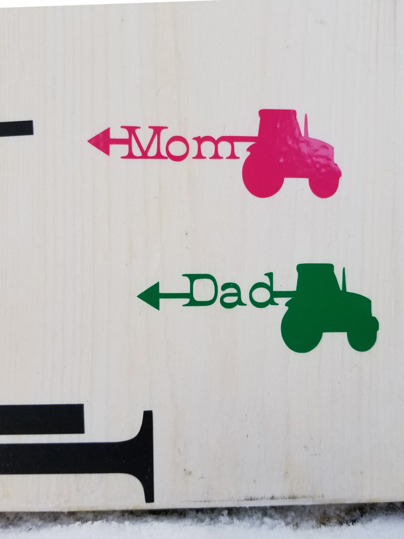 Tractor Parent Height Markers - Little Prairie Craft Co.