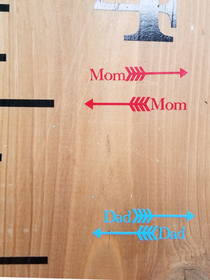 Skinny Classic Parent Height Markers - Little Prairie Craft Co.