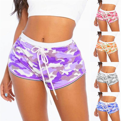 Women's High Waisted Tummy Control Workout Yoga Gym Camo Shorts