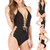 Women Sexy Deep V-neck One Piece Swimsuit with Gold Eyelet Bandage