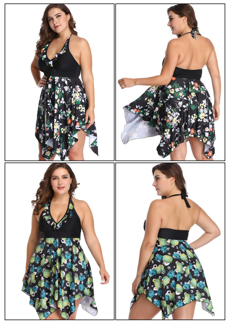 Women Plus Size Swimsuit Floral Print Two Piece Tankini Swimdress