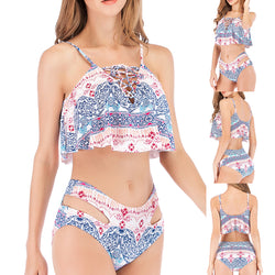 Women Ruffle Print Bohemian High Waist Swimsuit Two Piece Bikini Set