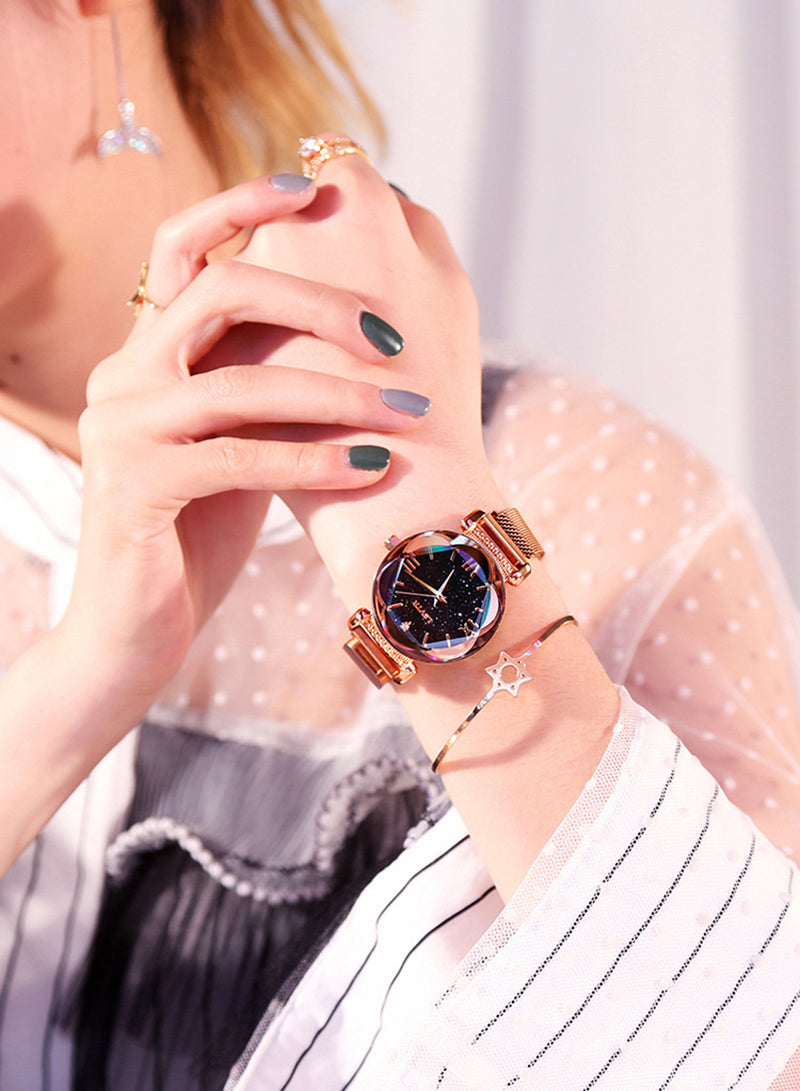 Tik Tok Pop Stars Stylish Trend Starry Sky Magnet Waterproof Watch