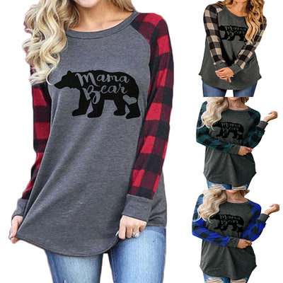 Women Mama Bear Plaid Long Sleeve T-Shirt