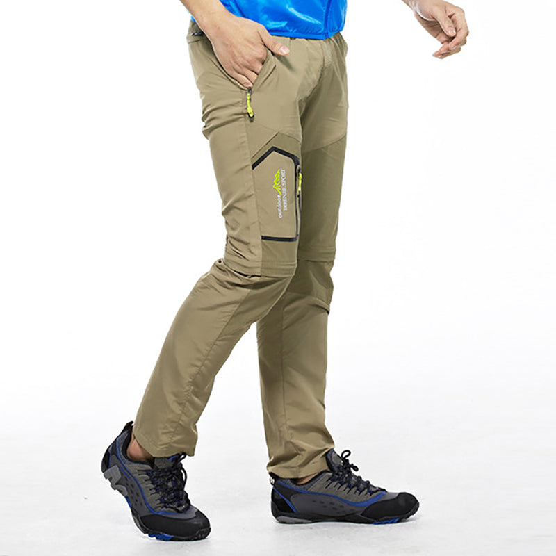 Men 2 Ways Removable Quick Dry Hiking Outdoor Breathable Pants Mountain Camping Trekking Trousers