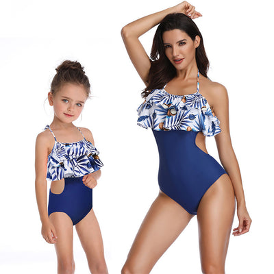 Women's One Piece Swimsuit Family Matching Mom Girls Bathing Suit Mommy and Me Swimwear