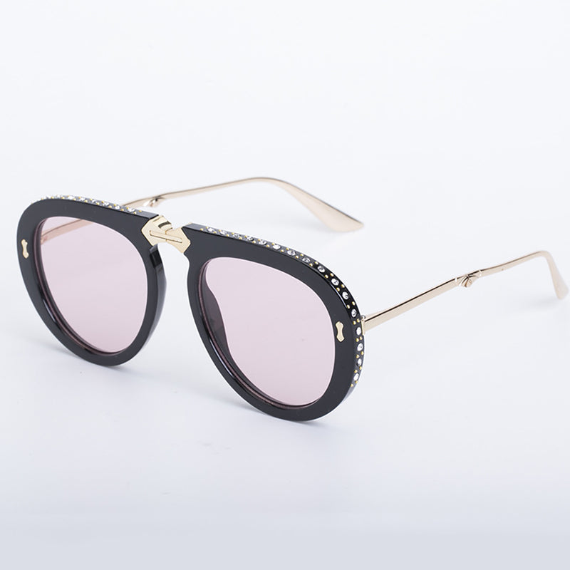 Foldable Aviator Sunglasses with Bling Rhinestones