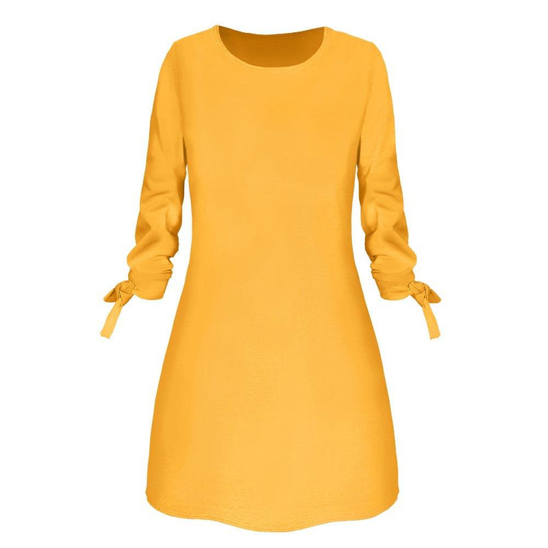 Pin O-Neck Solid Long Sleeve Dress