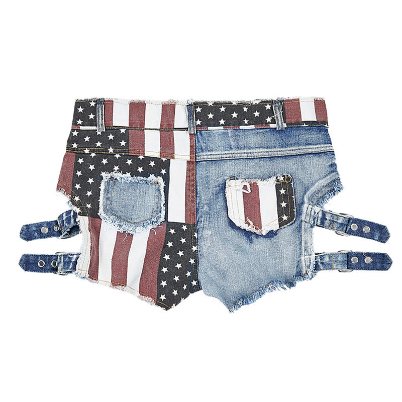 Women Hot Clubwear Hollow Ripped USA Flag Jeans Shorts