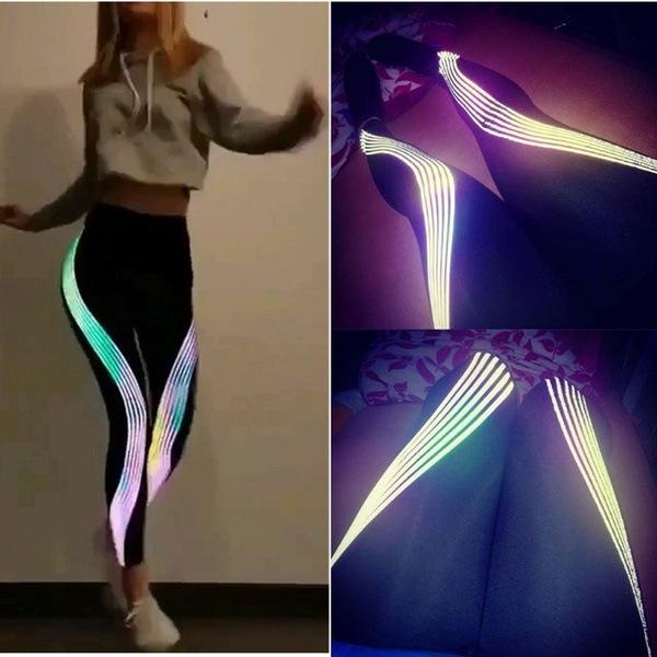 Women Reflective Strip Laser Print Night Running Yoga Leggings