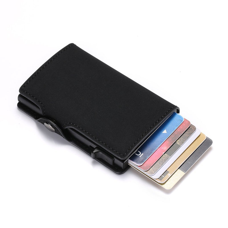 Men Single Box Card Holder PU Leather Card Wallet New RFID Blocking Aluminum Smart Multifunction Wallet Card Case