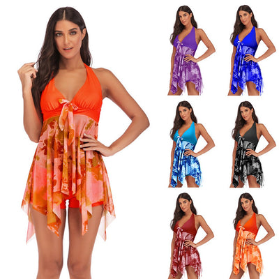 Women Tankini Swimdress Halter Print Tie Swimsuit Two Piece Swimwear