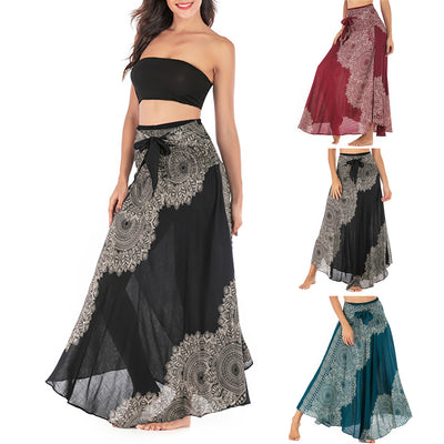 Women Hippie Bohemian Holiday Long Print Skirt Gypsy Two-wear Beach Dress